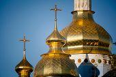foto of kiev  - Golden copes of in cathedral in Kiev taken in spring in Ukraine - JPG