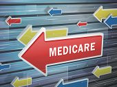 image of medicare  - moving red arrow of medicare word on abstract high - JPG