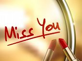 pic of miss you  - miss you words written by red lipstick on glossy mirror - JPG