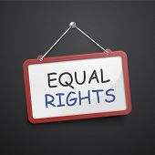 stock photo of equality  - equal rights hanging sign isolated on black wall - JPG