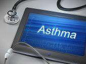 stock photo of asthma  - asthma word display on tablet over table - JPG