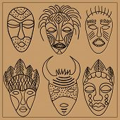 picture of african mask  - A set of six African masks - JPG