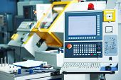 stock photo of machine  - industrial equipment of cnc milling machine center in tool manufacture workshop - JPG
