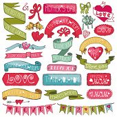 pic of ribbon bow  - Mothers day colored decor elements and lettering set - JPG