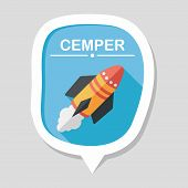 stock photo of spaceships  - Spaceship Flat Icon With Long Shadow - JPG