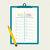 foto of clipboard  - Pros and Cons list - JPG