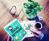 stock photo of social system  - Social Network Internet Online Society Connecting Social Media Concept - JPG