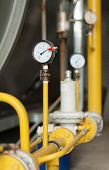 stock photo of manometer  - Manometers and fittings gas boiler at the plant - JPG