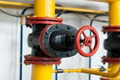 foto of valves  - Control valve supplying gas to the industrial boiler - JPG
