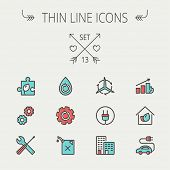 image of outline  - Ecology thin line icon set for web and mobile - JPG