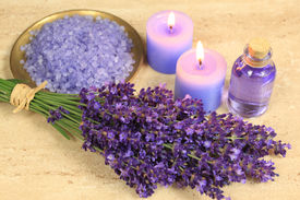 picture of lavender field  - Spa composition - lavender flowers coloured bathing salt and candles ** Note: Shallow depth of field - JPG