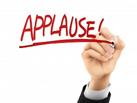 pic of applause  - applause word written by hand on a transparent board - JPG
