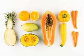 foto of papaya fruit  - Collection of orange and yellow fruits and vegetables - JPG