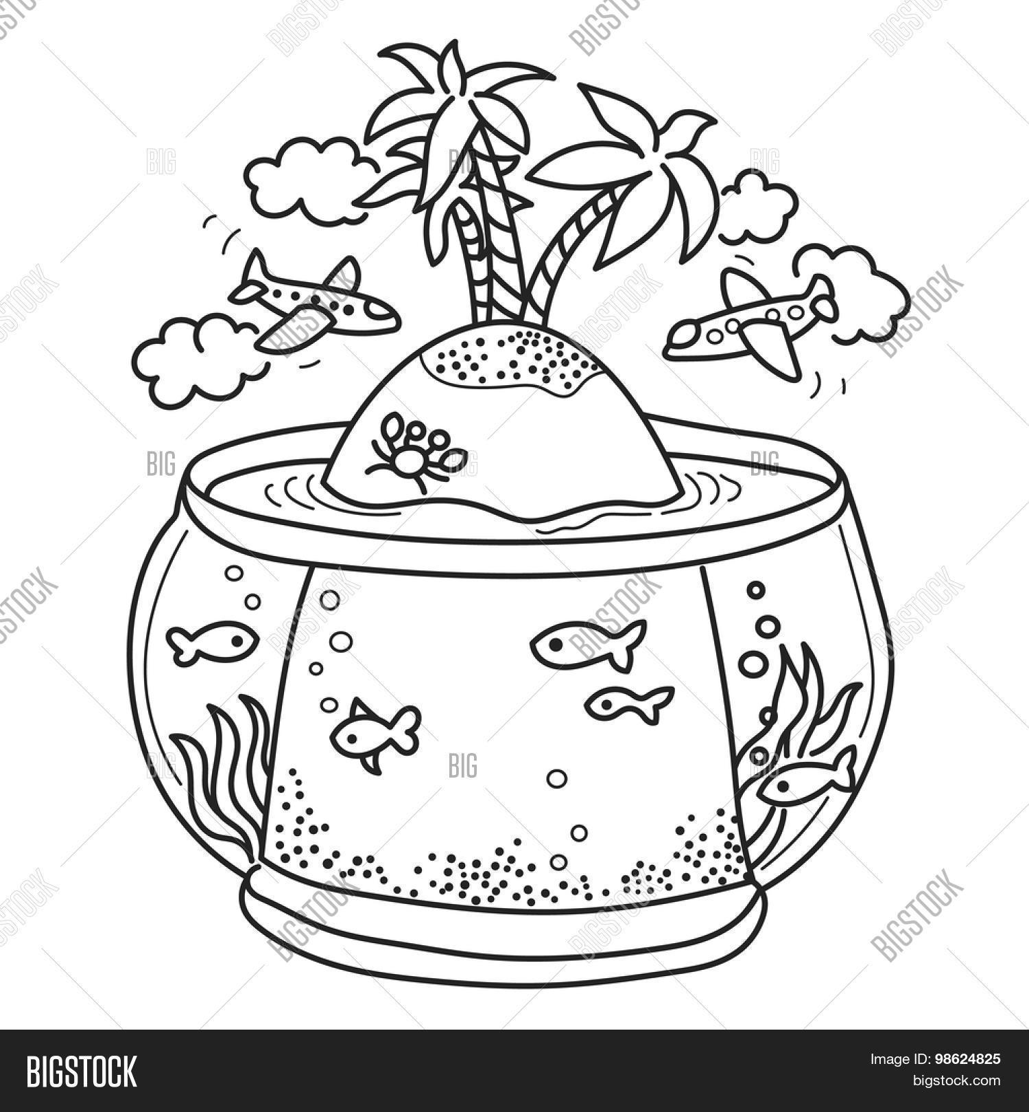Freehand Drawing - Paradise Island Vector & Photo