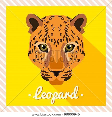 Vector portrait of a  leopard. Symmetrical portraits of animals. Vector Illustration,greeting card.
