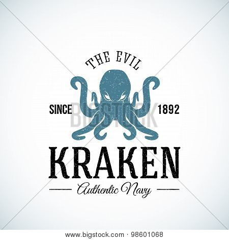 The Evil Kraken Authentic Navy Abstract Vector Logo Template. Textured.