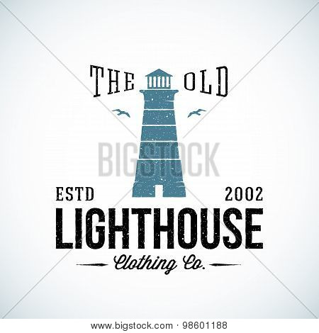 The Old Lighthouse Nautical Abstract Vector Retro Label or Logo Template with Typography. Good for C