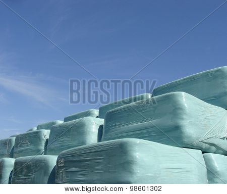 Stack Of Hay In Blue Plastic Wrap On A Sunny Day