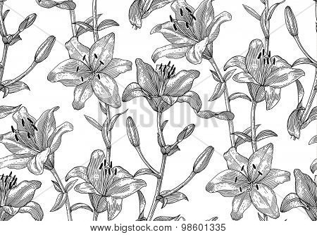 Engraved lily. Seamless pattern