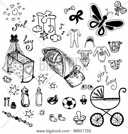 Baby icons set. Child toys, pram, duckling, cradle. Hand drawn or doodle vector illustration.