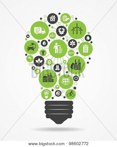 Green, ecology and environment icons in the form of light bulbs. File is saved in 10 EPS version. This illustration contains a transparency