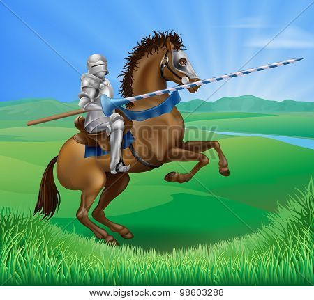 Knight On Horse With Lance