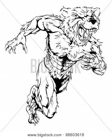 Bear Sports Mascot Running