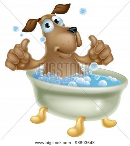 Cartoon Dog In Bubble Bath