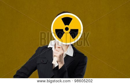 Businesswoman in mask