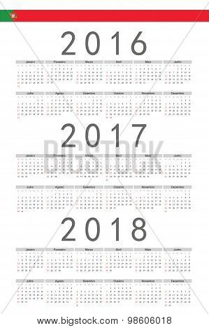 Set Of Rectangle Portuguese 2016, 2017, 2018 Year Vector Calendars