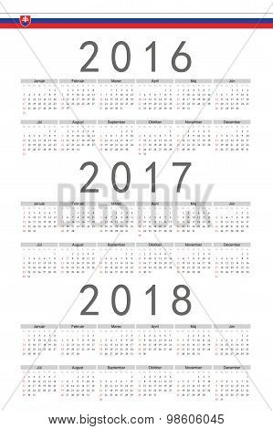 Set Of Rectangle Slovak 2016, 2017, 2018 Year Vector Calendars