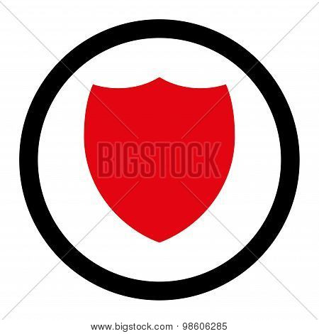 Shield flat intensive red and black colors rounded raster icon