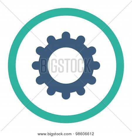 Gear flat cobalt and cyan colors rounded raster icon