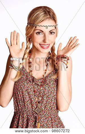 Beauty Portrait Of Boho Slim Joyful Woman Surprised Smiling
