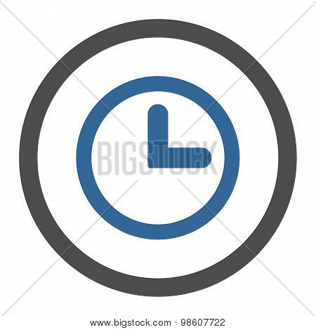 Clock flat cobalt and gray colors rounded raster icon