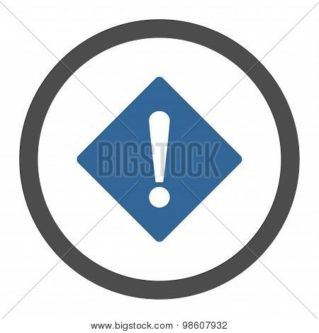 Error flat cobalt and gray colors rounded raster icon