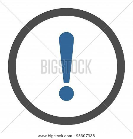 Exclamation Sign flat cobalt and gray colors rounded raster icon
