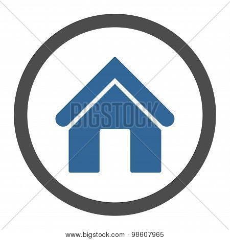 Home flat cobalt and gray colors rounded raster icon