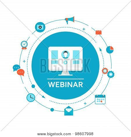 Webinar Illustration. Online Education and Training. Distance Learning