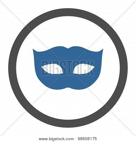 Privacy Mask flat cobalt and gray colors rounded raster icon