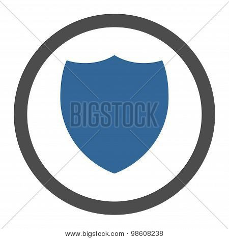 Shield flat cobalt and gray colors rounded raster icon