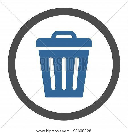 Trash Can flat cobalt and gray colors rounded raster icon