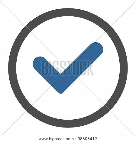 Yes flat cobalt and gray colors rounded raster icon