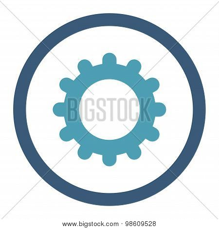 Gear flat cyan and blue colors rounded raster icon