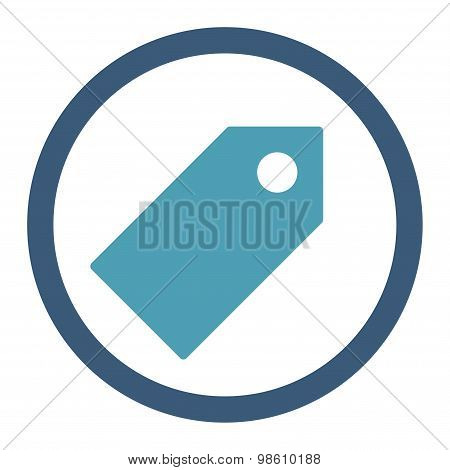 Tag flat cyan and blue colors rounded raster icon