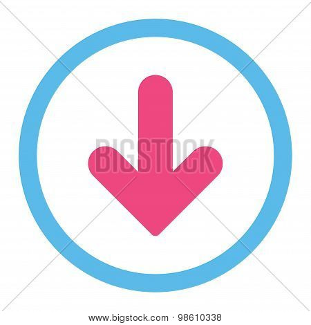 Arrow Down flat pink and blue colors rounded raster icon