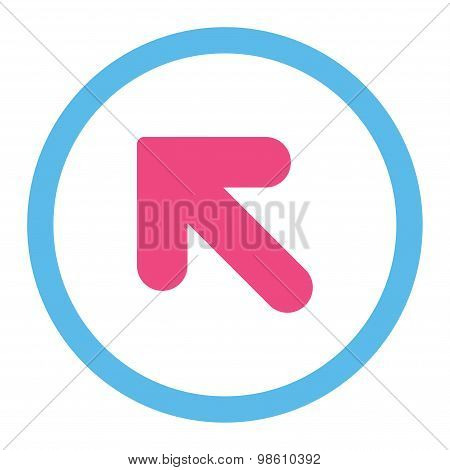 Arrow Up Left flat pink and blue colors rounded raster icon
