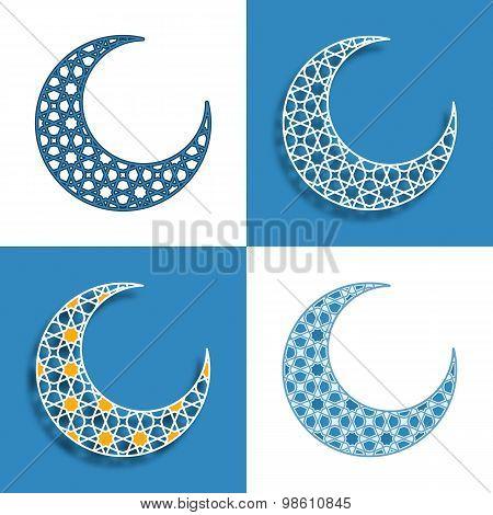 set of four arabic half moons