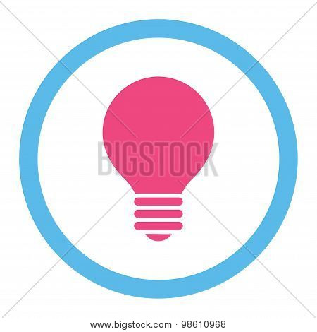 Electric Bulb flat pink and blue colors rounded raster icon