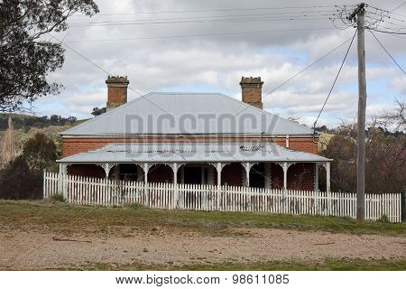 Landscape Scene With Abandoned Old House Picket Fence Rural Coun